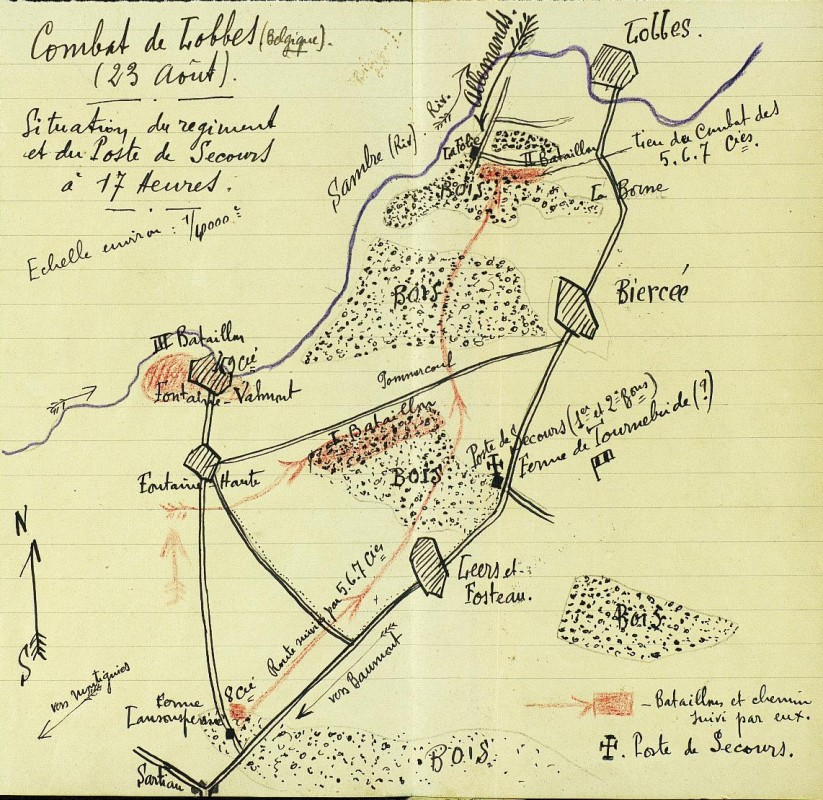carte-combat-Lobbes-1914